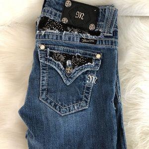 Miss Me lace studded rhinestone pocket jeans 27